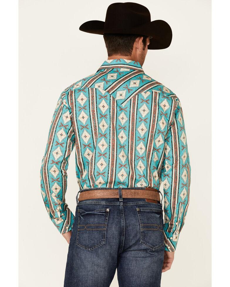 Rock & Roll Denim Men's Brown All-Over Aztec Print Long Sleeve Snap Western Shirt , Brown, hi-res