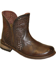 """Abilene Women's 5"""" Ventilated Zippered Booties - Round Toe, Brown, hi-res"""