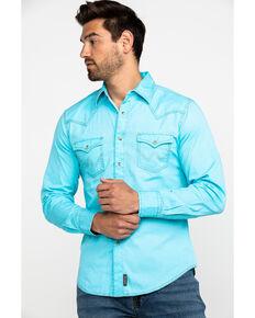 Wrangler Retro Men's Turquoise Solid Long Sleeve Western Shirt  , Turquoise, hi-res