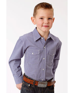 Roper Boys' Purple Mini Check Print Western Shirt , Purple, hi-res