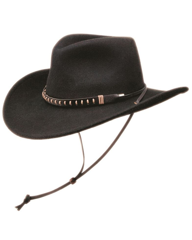Black Creek Crushable Wool Felt Hat w/ Chincord, Black, hi-res