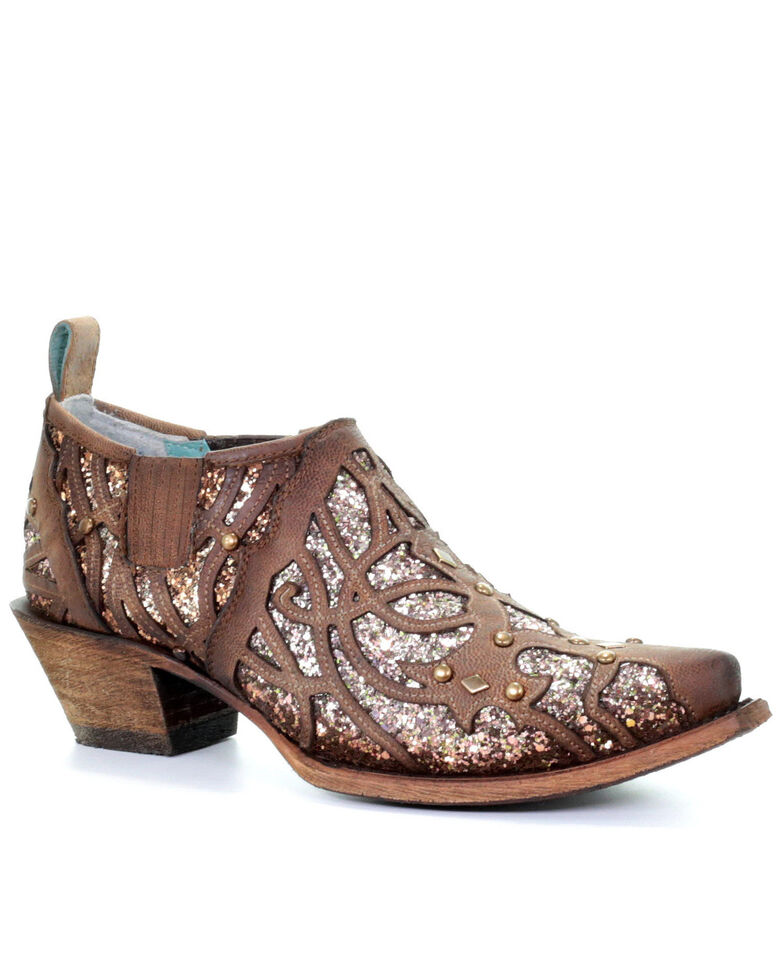 Corral Women's Tobacco Glitter Inlay Fashion Booties - Snip Toe, Brown, hi-res