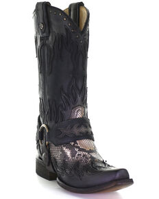 Corral Men's Grey Python Flames Overlay Western Boots - Snip Toe, Grey, hi-res