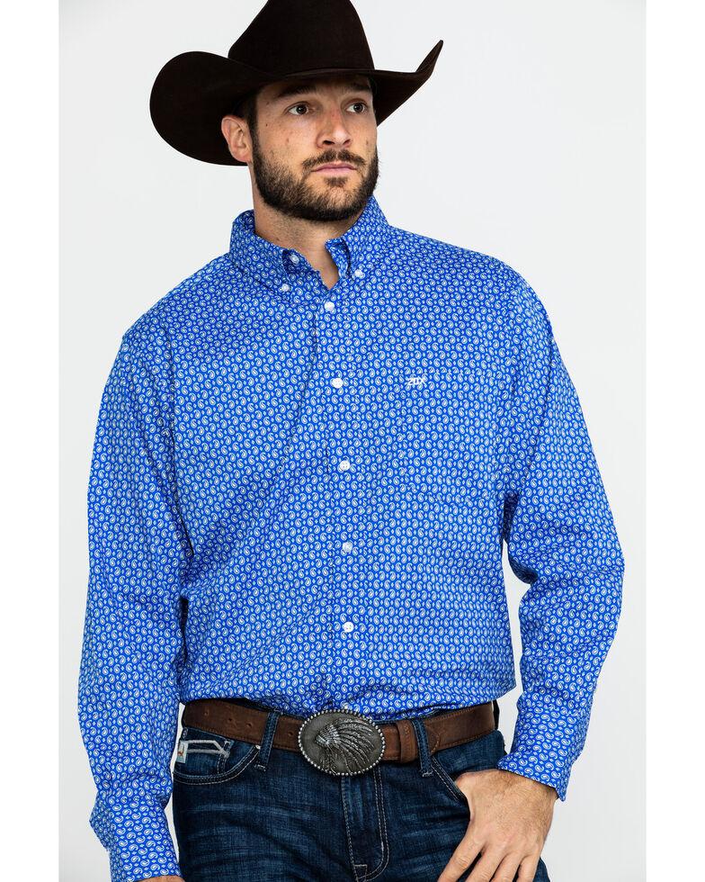 Wrangler 20X Men's Blue Small Paisley Print Long Sleeve Western Shirt , Blue, hi-res