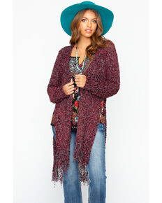 Shyanne Women's Chenille Cardi Sweater , Burgundy, hi-res