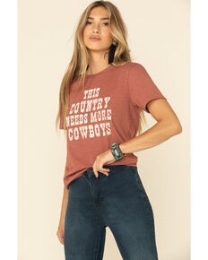 Ali Dee Women's Country Needs More Cowboys Graphic Tee, Rust Copper, hi-res