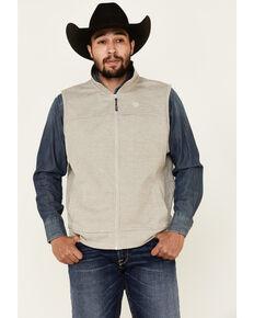 George Strait By Wrangler Men's Heather Khaki Zip-Front Vest , Beige/khaki, hi-res