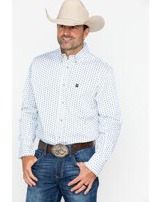 Wrangler Men's Long Sleeve White Performance Print Shirt , White, hi-res