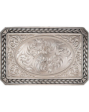 Montana Silversmiths Antiqued Wheat Trim Rectangle Buckle, Silver, hi-res