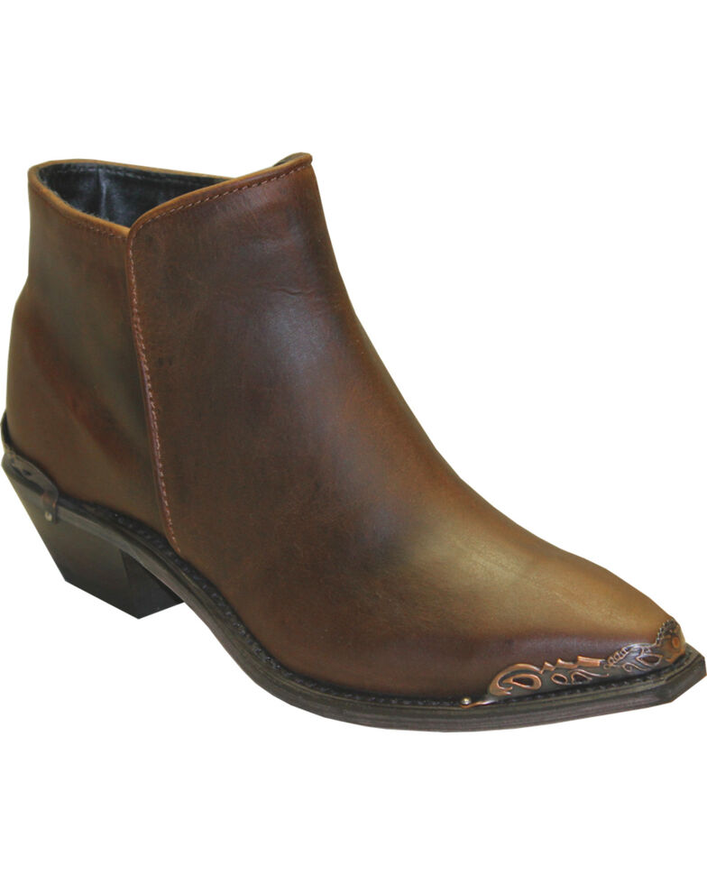 Abilene Women's Brown Demi Zipper Booties - Snip Toe , Brown, hi-res