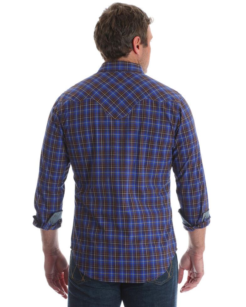 Wrangler Retro Men's Brown Plaid Long Sleeve Western Shirt , Brown, hi-res
