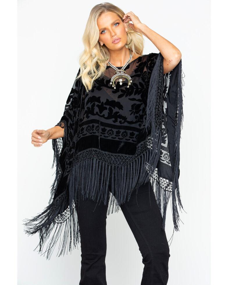 Idyllwind Women's Gypsy Night Fringe Poncho, Black, hi-res