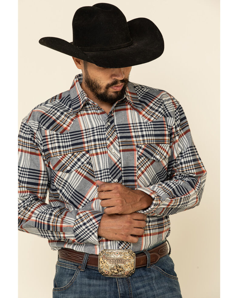 Resistol Men's Grey Ontario Large Plaid Long Sleeve Western Shirt , Grey, hi-res