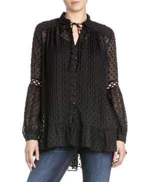 Miss Me Women's Sheer Jacquard Dot Top , Black, hi-res