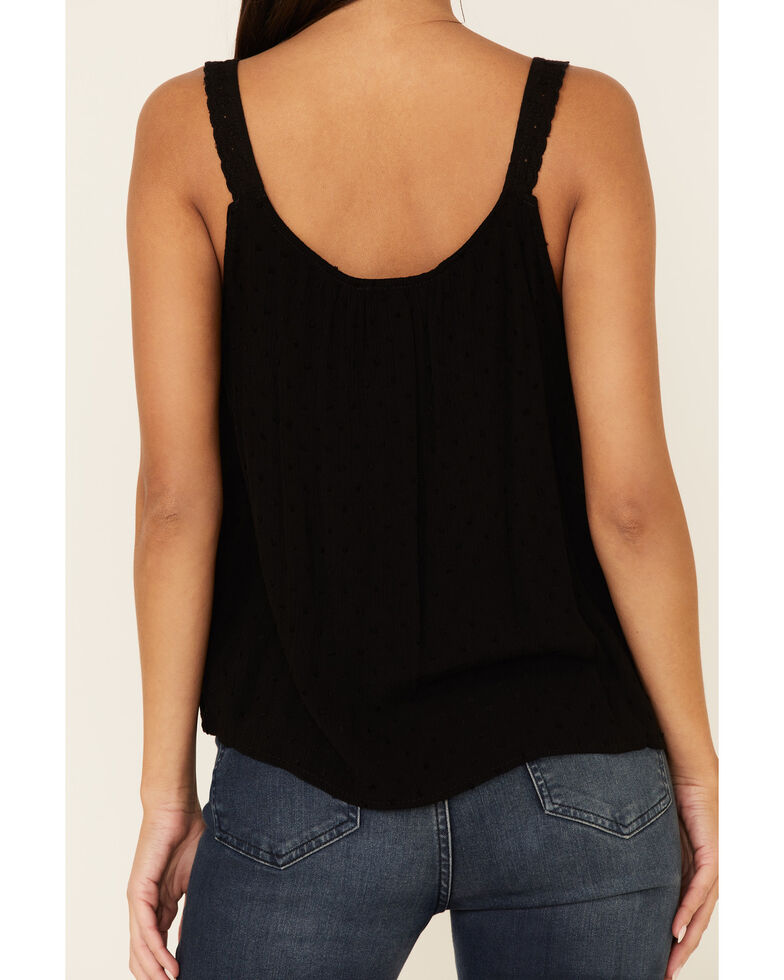 Panhandle Women's Dobby Dot Pintuck Bib Tank Top , Black, hi-res