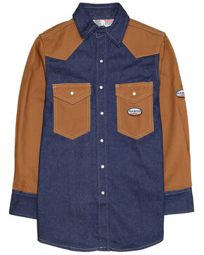 Rasco Men's Two Tone Denim Snap Front Long Sleeve Work Shirt , Brown, hi-res