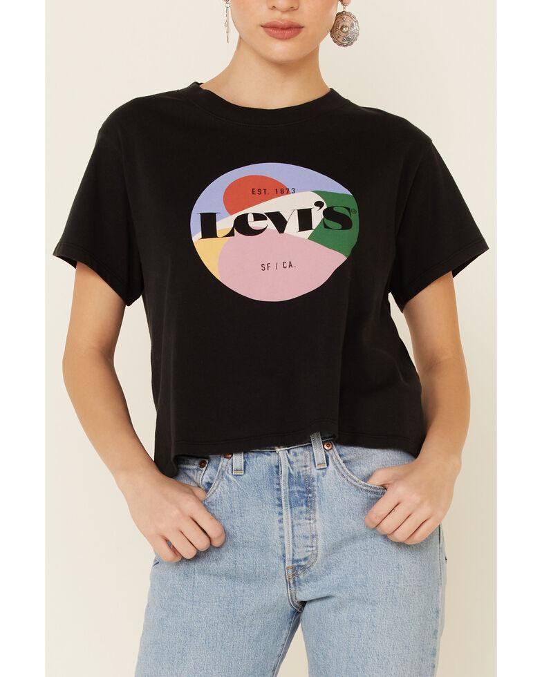 Levi's Women's Multi Color Circle Logo Short Sleeve Tee , Black, hi-res