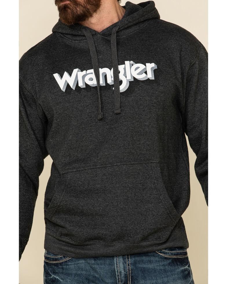 Wrangler Men's Charcoal Logo Graphic Hooded Sweatshirt , Charcoal, hi-res