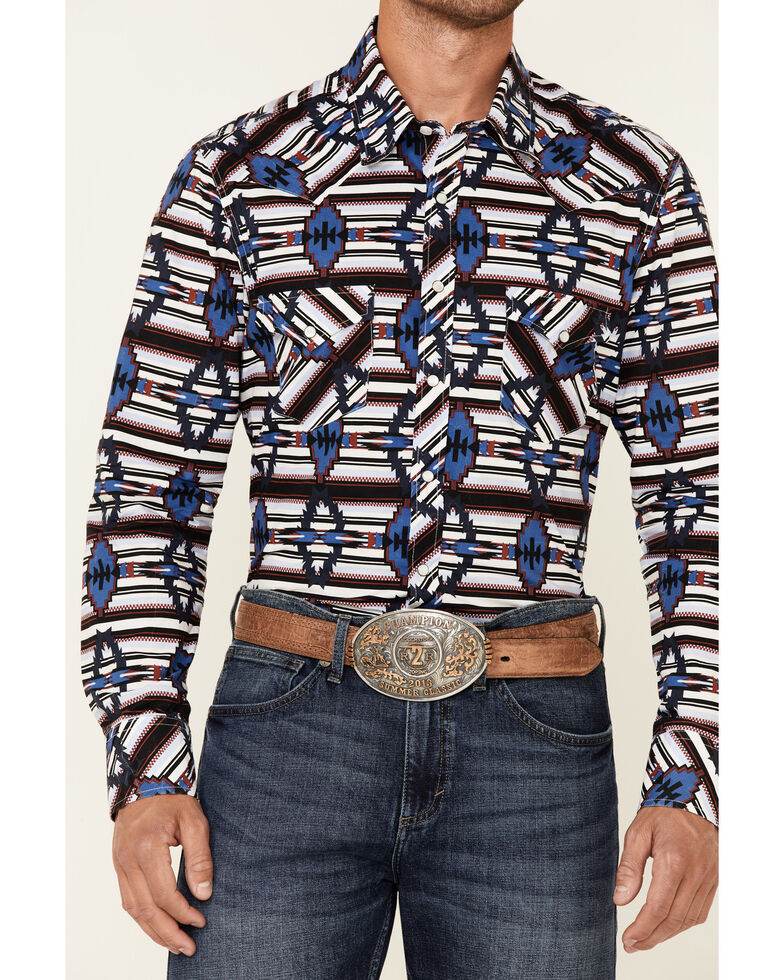 Rock & Roll Denim Men's Red All-Over Aztec Print Long Sleeve Snap Western Shirt , Red, hi-res