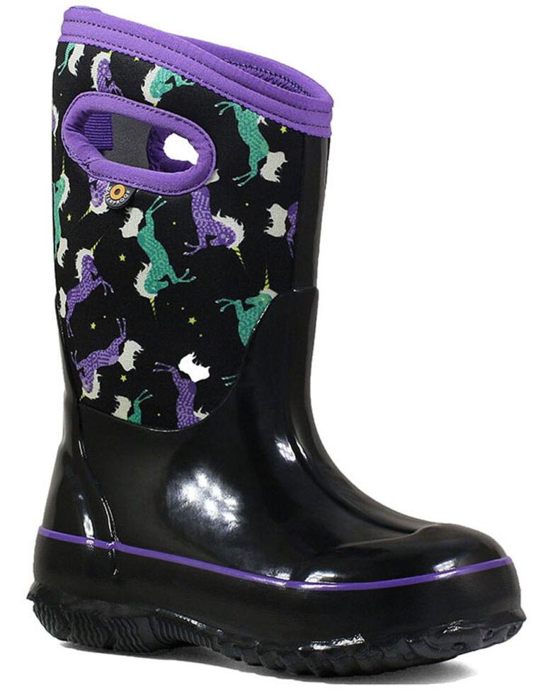 Bogs Girls' Black Unicorn Rubber Boots - Round Toe, Black, hi-res