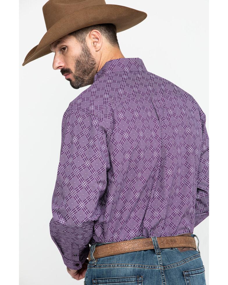 Cinch Men's Purple Diamond Geo Print Button Long Sleeve Western Shirt , Purple, hi-res