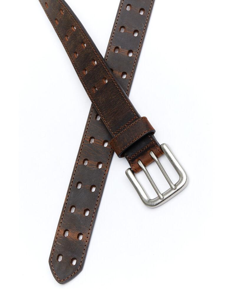 Hawx® Men's Double Perforated Work Belt, Brown, hi-res