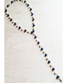 Jewelry Junkie Women's Frosted Blue Lapis Freshwater Pearl Rosary Necklace , Blue, hi-res