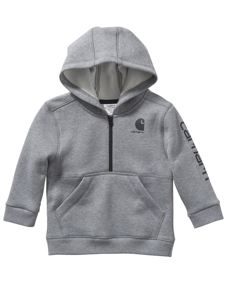 Carhartt Infant Boys' Grey Logo Hooded 1/2 Zip Pullover Sweatshirt , Grey, hi-res