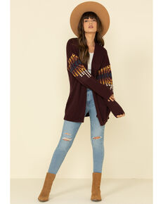 Pendleton Women's Plum Chief Joseph Aztec Cardigan , Purple, hi-res