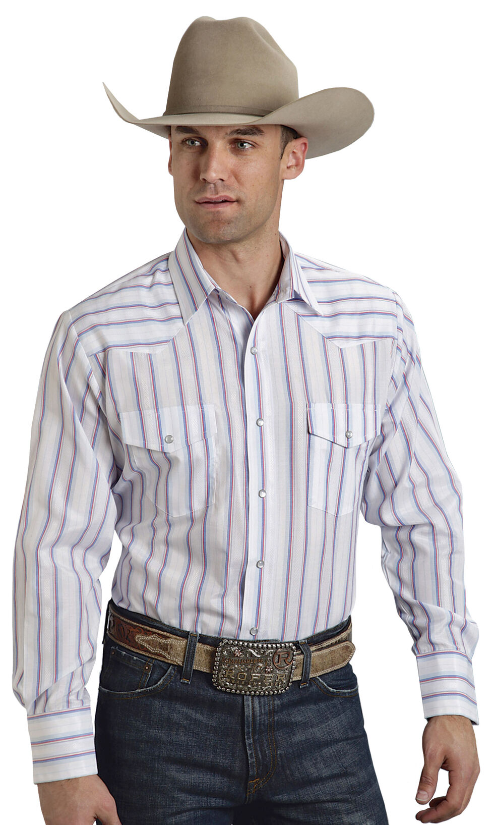 Roper Men's Blue and White Striped Western Shirt, Blue, hi-res