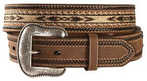 Nocona Aztec Horsehair Inlay Leather Belt, Brown, hi-res