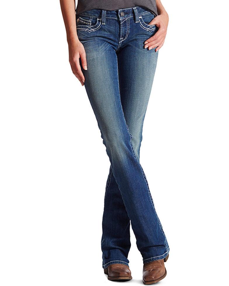 Ariat Women's Mid Rise Boot Cut Real Riding Jeans, Indigo, hi-res