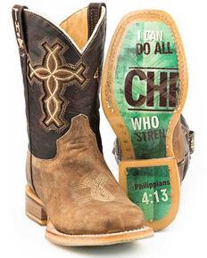 Tin Haul Boys' I Believe Western Boots - Square Toe, Tan, hi-res