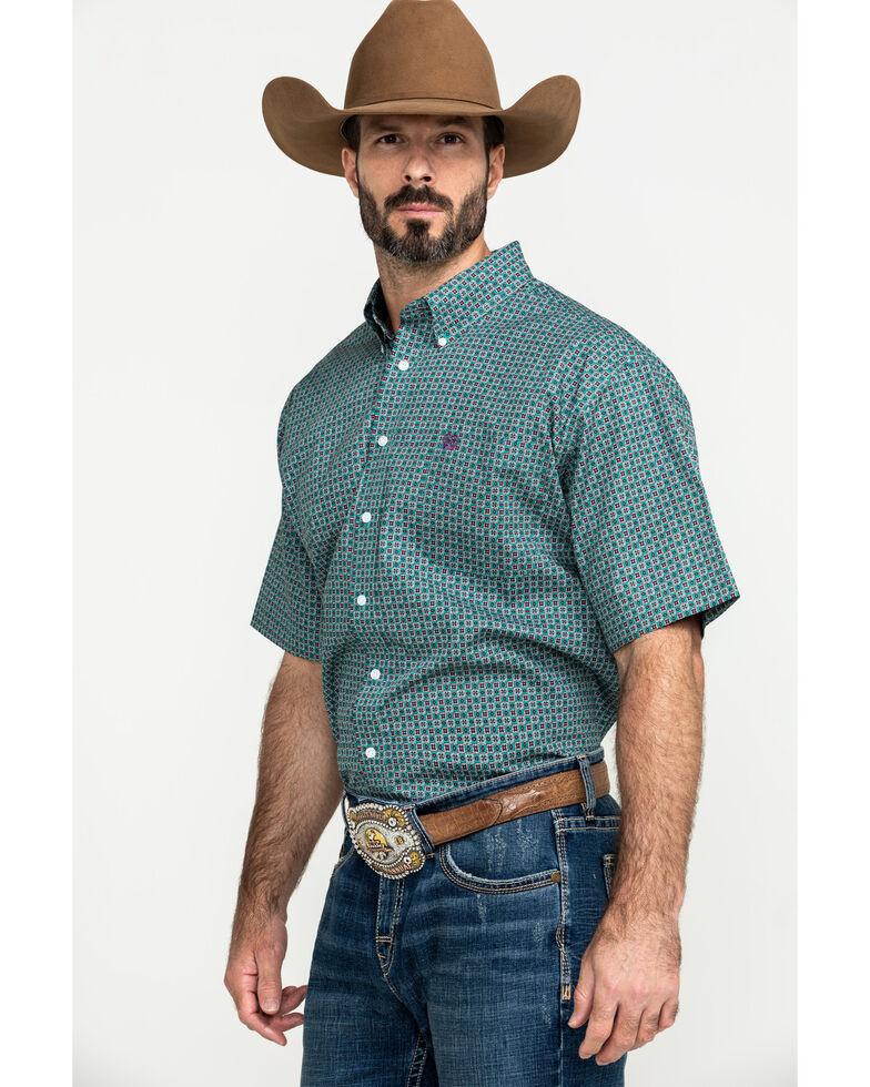 Cinch Men's Green Small Geo Print Short Sleeve Western Shirt , Green, hi-res