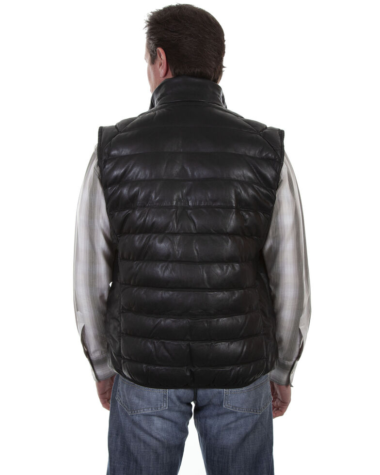 Scully Men's Ribbed Leather Black Vest, Black, hi-res