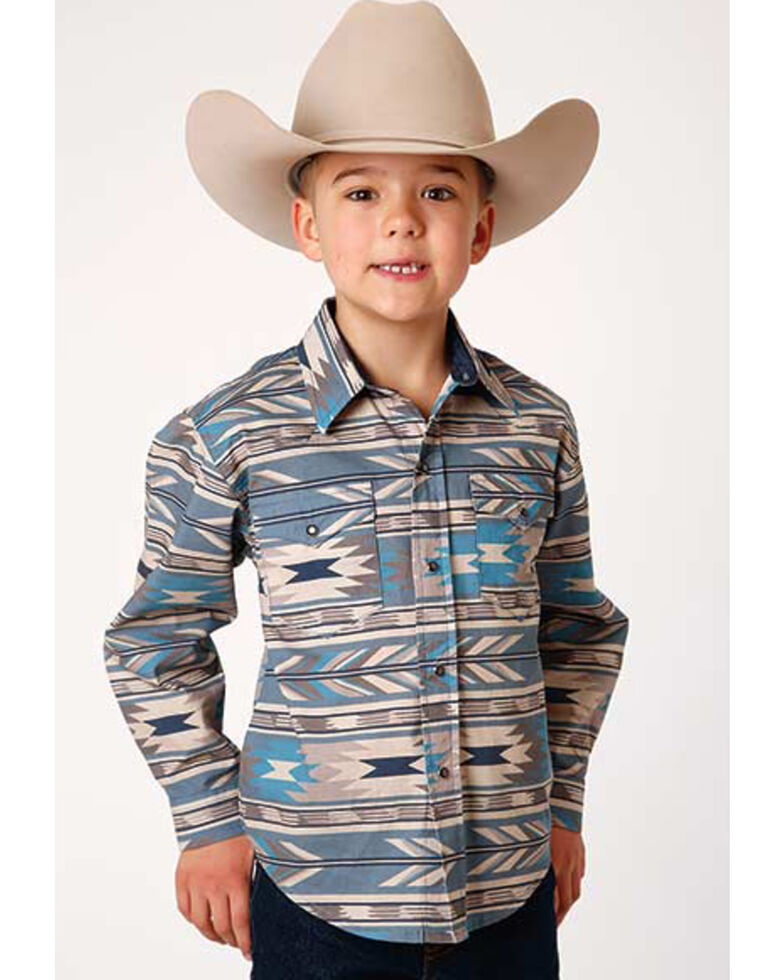 Roper Boys' West Made Stepped Aztec Print Long Sleeve Western Shirt , Turquoise, hi-res