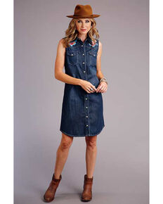 Stetson Women's Denim Embroidered Dress, Blue, hi-res