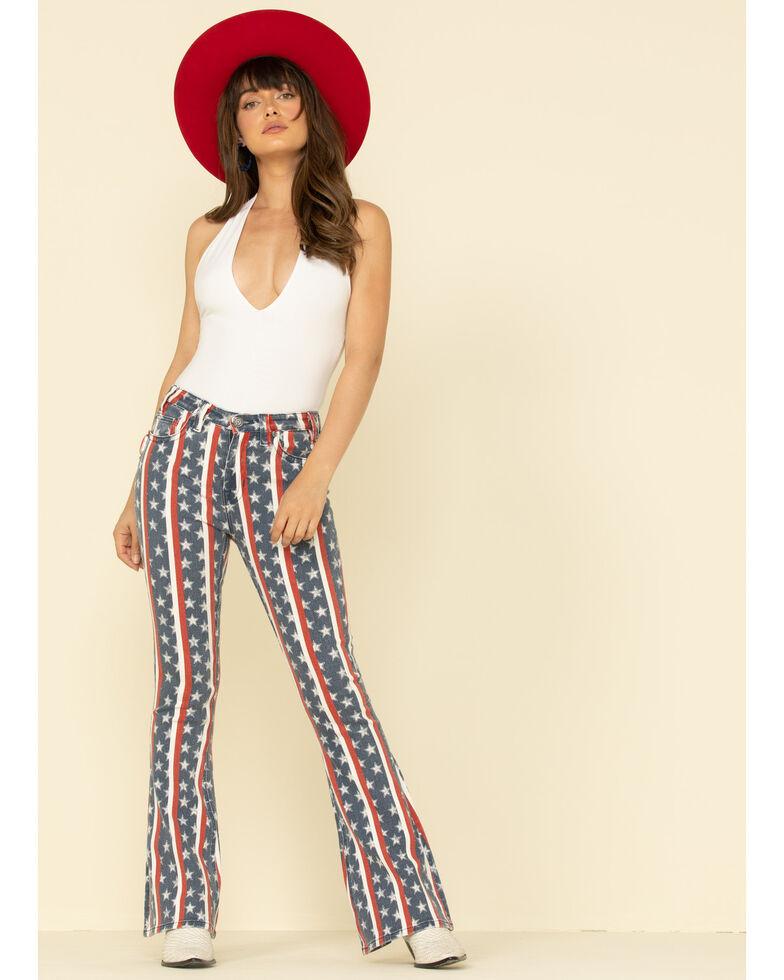 Rock & Roll Denim Women's Star & Stripe Flare Jeans , Multi, hi-res