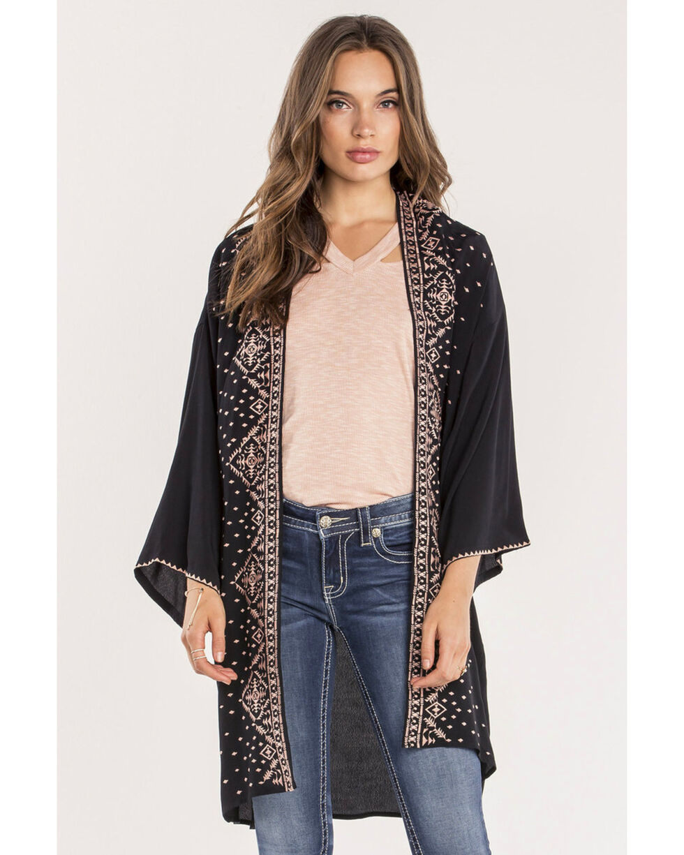 Miss Me Women's Black Bet On Me Kimono , Black, hi-res
