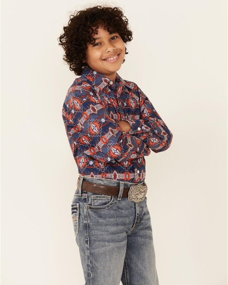 Dale Brisby Boys' Navy Aztec Print Long Sleeve Snap Western Shirt , Navy, hi-res