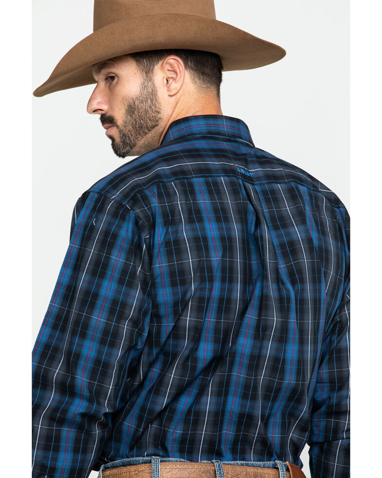 Ariat Men's Upman Large Plaid Long Sleeve Western Shirt , Navy, hi-res