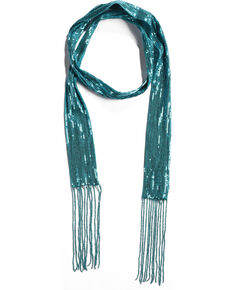5e8bf531b9a Shyanne Women s Turquoise Sequins Skinny Scarf