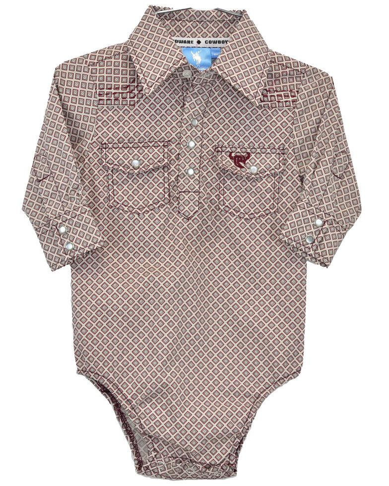 Cowboy Hardware Toddler Boys' Burgundy Geo Print Long Sleeve Onesie, Burgundy, hi-res