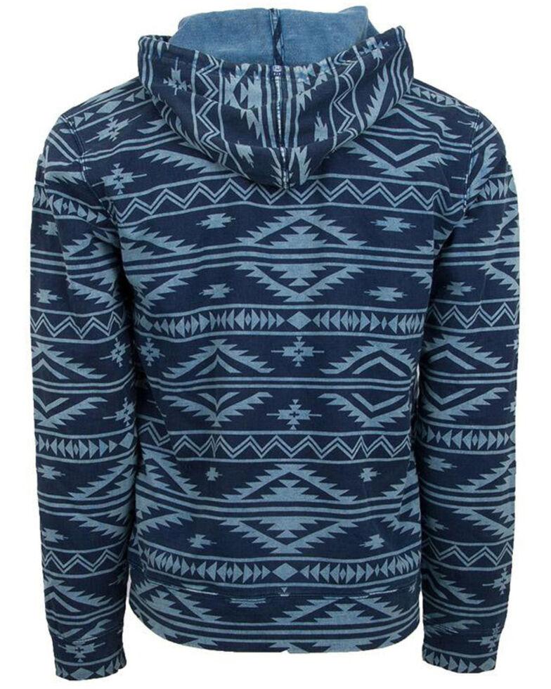 STS Ranchwear Men's Sloane Aztec Poly Hooded Pullover Sweatshirt , Blue, hi-res