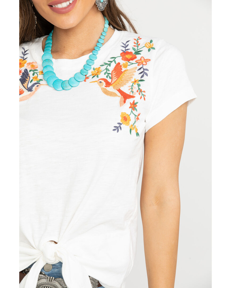 Miss Me Women's Floral Bird Embroidered Tee  , White, hi-res
