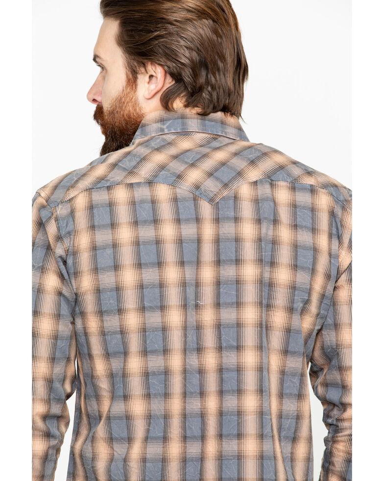 Rock & Roll Cowboy Men's Yarndye Plaid Long Sleeve Western Shirt, Brown, hi-res