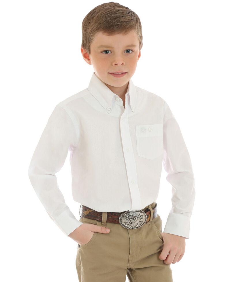Wrangler Boys' Classic White Solid Long Sleeve Western Shirt , White, hi-res