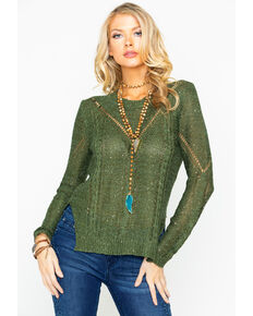 Rock & Roll Cowgirl Women's Sequin Neck Sweater, Olive, hi-res