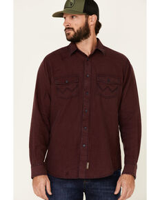 Wrangler Retro Men's Red Solid Button Long Sleeve Western Shirt , Red, hi-res