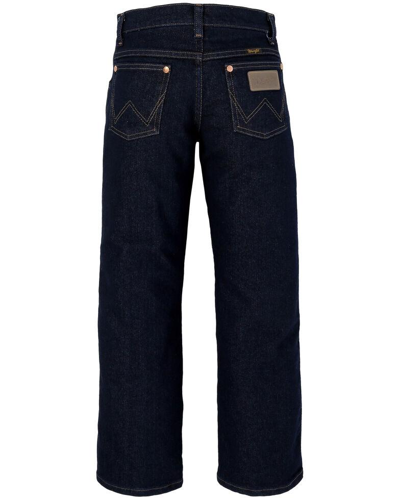 Wrangler Boys' Original Active Flex Prewash Dark Stretch Cowboy Cut Boot Jeans , Blue, hi-res